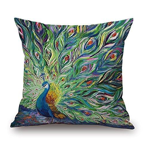 Elsaone Square Vintage Peacock Cotton Linen Home Decorativo Throw Pillow Fundas Fundas de colchón Fundas de Almohada Loves Fundas de Almohada 18 Pulgadas X 18 Pulgadas
