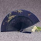 HNMY Seda Plegable Baile Ventilador portátil Vintage Dama Plegable Ventilador Chino Paisaje Fans Verano Mujer bambú Ventilador (Color : J)
