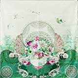 ClothHouse Bufanda Cuadrada De Sarga De Seda 100% Pura, Accesorios para Mujer, Pañuelo con Borde Enrollado A Mano, Cuadrado De Regalo De Alta Gama para Silla De Montar,Verde