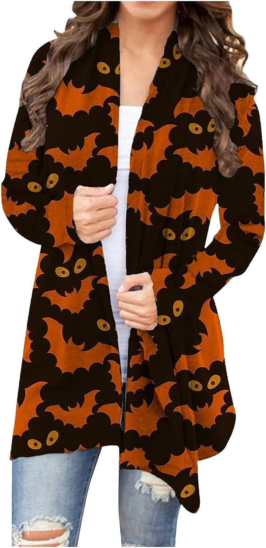 Halloween Long Sleeve Cardigan for Women,Open Front Funny Pumpkin Black Cat Ghost Lightweight Coat Skull Cat Cardigans