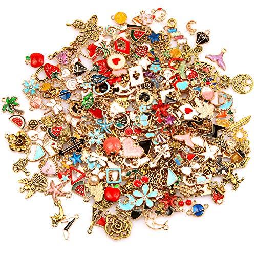 SANNIX 220Pcs Assorted Gold Plated Enamel Charms Necklace Bracelet Pendants for Valentine
