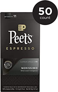 Peet's Coffee Espresso Capsules Nerissimo, Intensity 11, 50 Count Single Cup Coffee Pods, Compatible with Nespresso Original Brewers