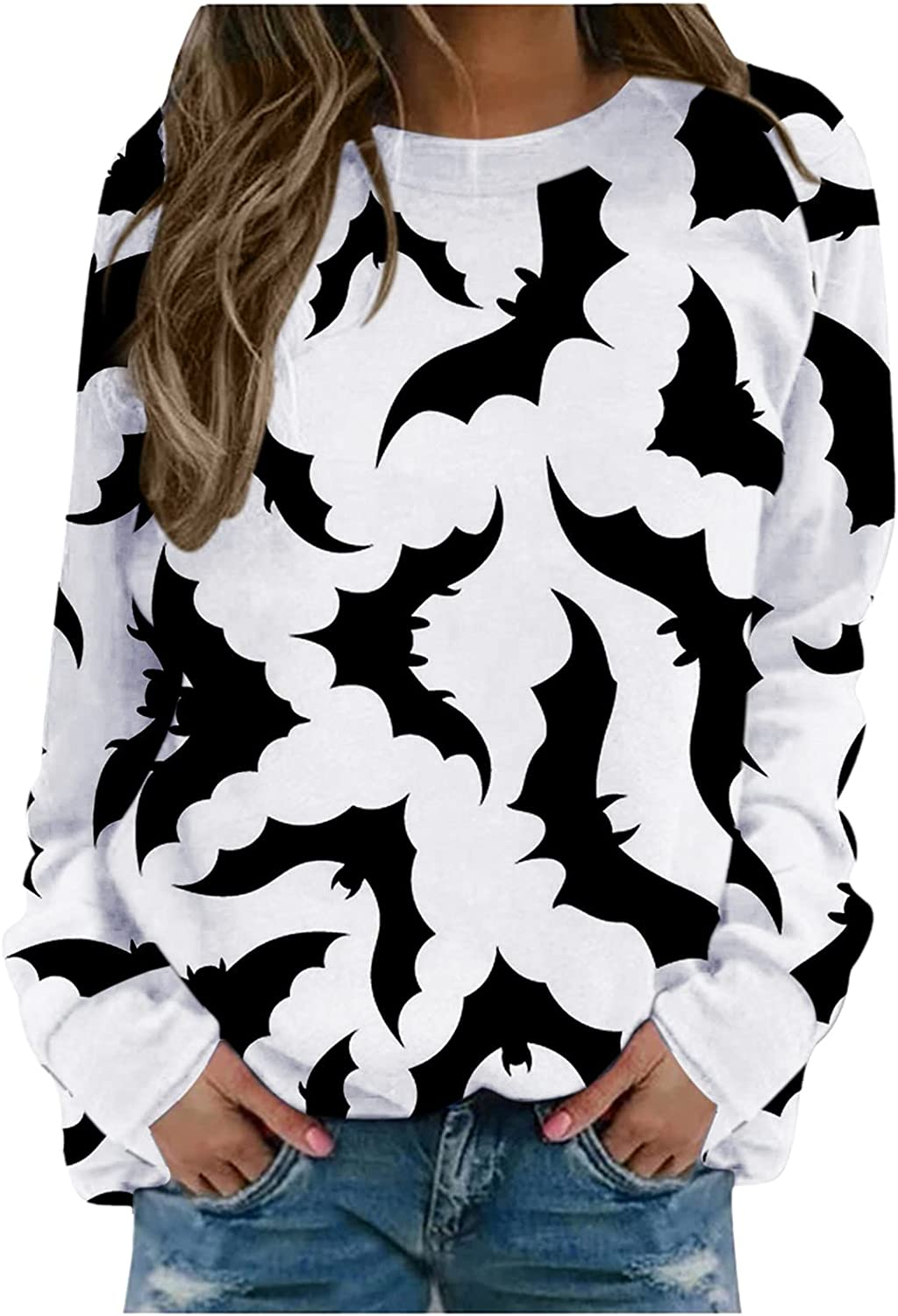 Halloween Sweatshirts for Women Crewneck Bat Print Pullover Tops Long Sleeve Sweater Cute Funny Goth Shirts Loose Fit