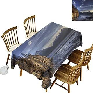 kangkaishi Waterproof Anti-Wrinkle no Pollution Long Tablecloth Beach on The Turnagain Arm Near Hope Alaska Photography with Wavy Sea and Sunset W54 x L108 Inch Multicolor