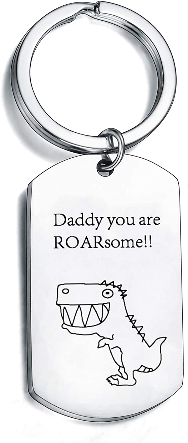 Dad Gifts Dad Keychain Father's Day Gifts for Dad Inspirational Dinosaur Gifts Keyring for Christmas Thanksgiving Gift