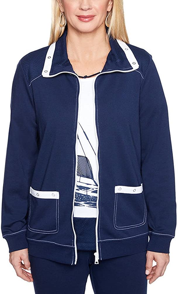 Alfred Dunner Women's Petite Americas Cup Sailboat Jacket
