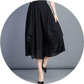 private-space-Aurelie Pants Skirt Loose Wide Leg Pants Plus Size High Waist Solid Color Chiffon Calf-Length Trousers