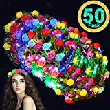Glow Party Supplies-50 Pack LED Flower Crowns Flashing Flower Headdress,Glow In The Dark Light Up Flower Headband for Girls Women Bulk Masquerade Hawaiian Luau Beach Party Favors Wedding July 4th Gift