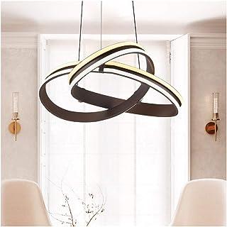 HW.Q シンプルなペンダントライト新しいLEDの天井照明クリエイティブダイニングテーブル型リビングルームの寝室用シャンデリア - ブラウン