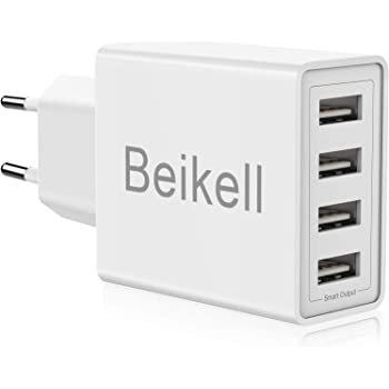 Chargeur USB, Beikell Chargeur Secteur USB 4 ports Adaptateur Secteur Universel Chargeur Mural 5A / 25W avec Technologie de Chargement Rapide Adaptative pour iPhone,Huawei,Appareils Portables,etc