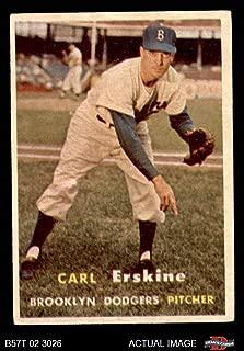 1957 Topps # 252 Carl Erskine Brooklyn Dodgers (Baseball Card) Dean's Cards 5 - EX Dodgers