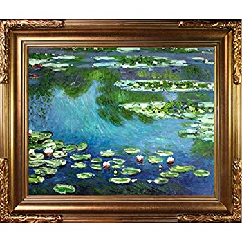 overstockArt Water Lilies Oil Painting with Florentine Gold Frame by Monet Gold Finish