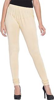 American-Elm Women's Beige Solid Stretchable Cotton Lycra Churidar Leggings/Yoga Pants