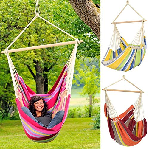 Hanging Hammock Chair Portable Garden Swing Seat Tree Travel Camping Poly Cotton