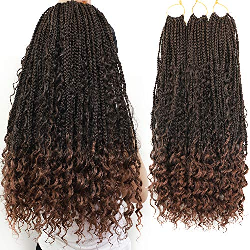 Box Braids Crochet Braids Curly Ends Goddess Box Braids Crochet Hair Synthetic Crochet Hair Extensions 10 bundles  (20 Inch, 1B/30)