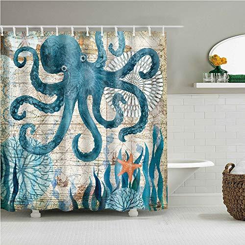 YONG-SHENG Octopus Print Polyester Duschvorhang Marine Life Wasserdicht & Mildewproof Gewebe Wohnaccessoires Eingestellt mit Haken 180cm x 180cm (Style 16)