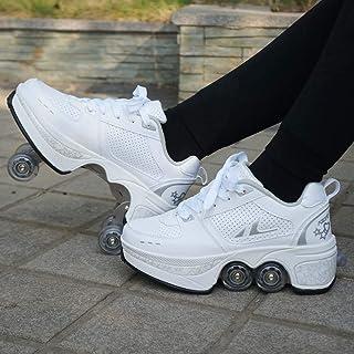 Inline Skate, 2-in-1 Multi-Purpose Shoes, Adjustable Quad Roller Skates Boots,B,35