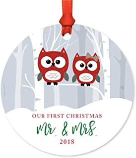 Andaz Press Custom Year Wedding Couple Metal Christmas Ornament, Our First Christmas as Mr. & Mrs. 2019, Red Holiday Woodland Owls, 1-Pack, Includes Ribbon and Gift Bag