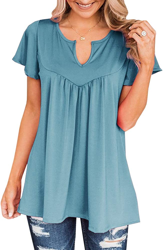 Haloumoning Womens Short Sleeve T Shirts Plus Size Round V Neck Casual Tunic Tops Solid Color Ruffle Loose Blouse S-3XL Blue
