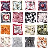 HBselect 16 pezzi Foulard Donna di Raso 50x50 cm Multiuso Sciarpa Donna Fantasia Fazzoletti da Collo Multicolore Bandana Donna