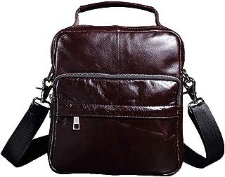 حقيبة رسول جلدية للرجال، حقائب كروسبودي كتف، حقائب لاب توب أعمال حقيبة كتف للكتب حقيبة سفر مع حزام قابل للتعديل، بني