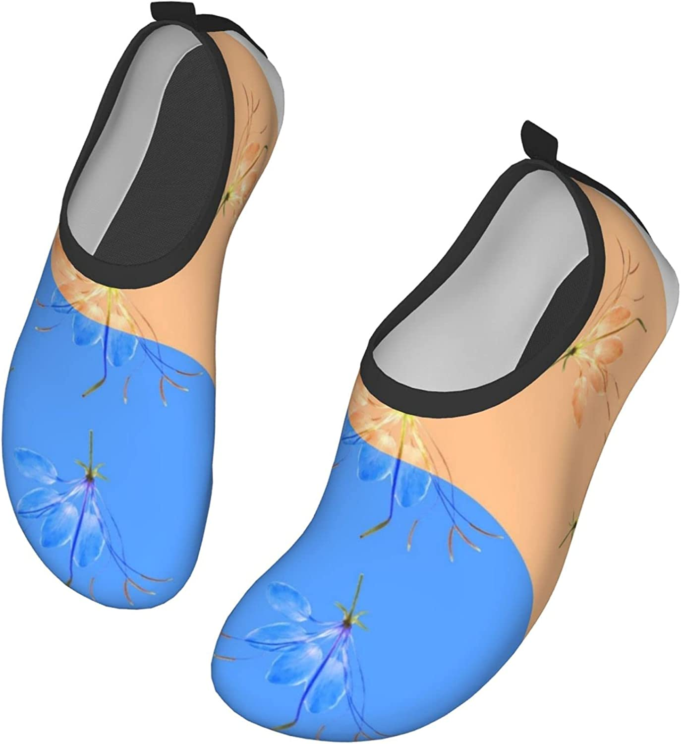 Floral Symbol Yin-Yang Womens and Mens Water Shoes Barefoot Quick-Dry Aqua Socks Slip-On for Outdoor Beach Swim Yoga