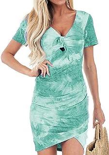 MK988 Womens Print High Low Short Sleeve V-Neck Summer Tie Dye Print Cocktail Party Mini Dress