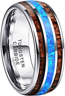 iTungsten 8mm Silver Black Tungsten Rings for Men Women Wedding Bands Blue Green Galaxy Opal Lapis Malachite Koa Wood Inla...