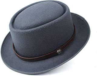 SAIPULIN-AU Men's and Women's Flat Top Cap Fedora Ms. Fascinator Casual Wild Style British Style Top Hat Fedora Hat Gentleman Daddy Church Hat (Color : Gray, Size : 58)