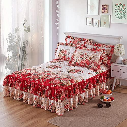 CYYyang Protector de colchón, algodón, poliéster, Hoja de Cama de Encaje de Falda de Cama gruesa-25_150 * 200cm