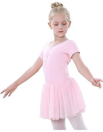 inhzoy Robe de Danse Ballet Latin Enfant Fille Ensemble de Danse Paillette Haut de Danse Mousseline Jupe de Danse Classique Dancewear Tenus de Danse Performance 6-14 Ans