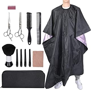 Professional Hairdressing Tool Set 15 PCS Hair Cutting Kits Flat Thinning Scissors Apron Hair Cutting Comb Brush for Barbe...