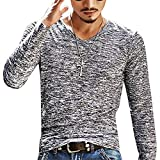 HDDFG Camisetas ajustadas de manga larga con cuello redondo para hombre, camisetas de primavera y otoño para hombre, Color sólido, camisetas básicas lisas para gimnasio, camisetas casuales