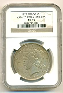 1922 United States P Peace Dollar Coin 90% Silver Ngc Au 58