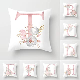 Tillskuch Throw Pillow Covers 26 Decorative English Letters Floral Pillowcases Velvet Soft Cushion Cover White Pillow Protectors for Sofa Bedding Car and Home Decor (18x18 / 45x45cm, Letter T)