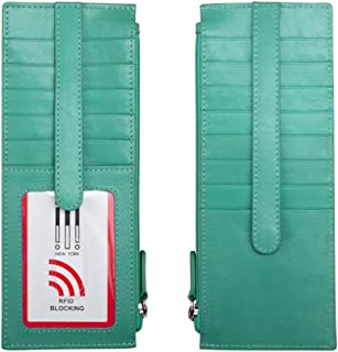 ili New York 7800 Leather Card Holder with RFID Blocking Lining - Blue - One Size