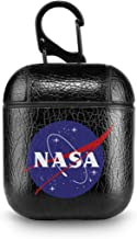 Leather Case for AirPods NASA Logo Space Fan Geek Pop Black PU Leather Protective Shockproof Cover Wireless Charging for Apple AirPods 1 2 Series