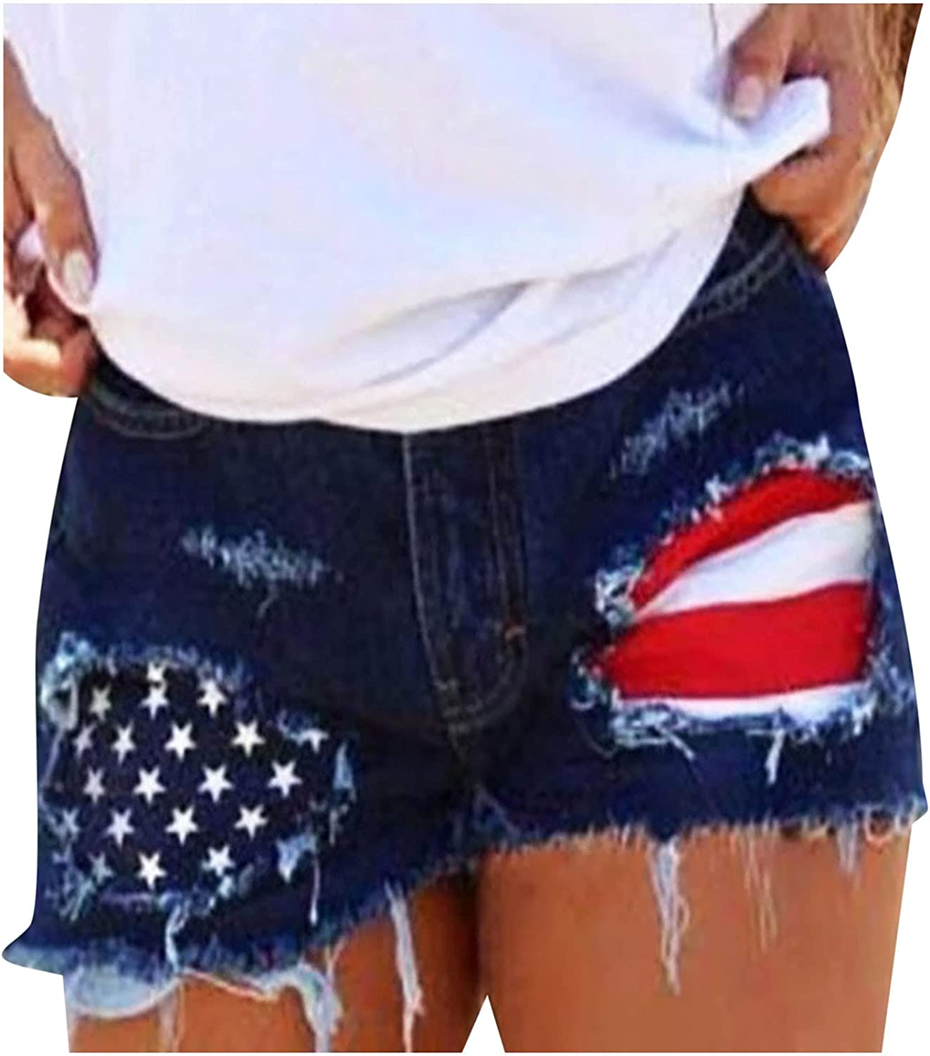 HGps8w Women's Summer Sexy American Don't miss the campaign Flag Deni Max 51% OFF July 4th of Casual