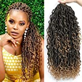 6 Packs Boho Goddess Locs Crochet Hair 18 Inch River Locs Goddess Faux Locs Crochet Hair Wavy Crochet With Curly Hair In Middle And Ends Boho Faux Locs Synthetic Hair Extension (18inch,T27)