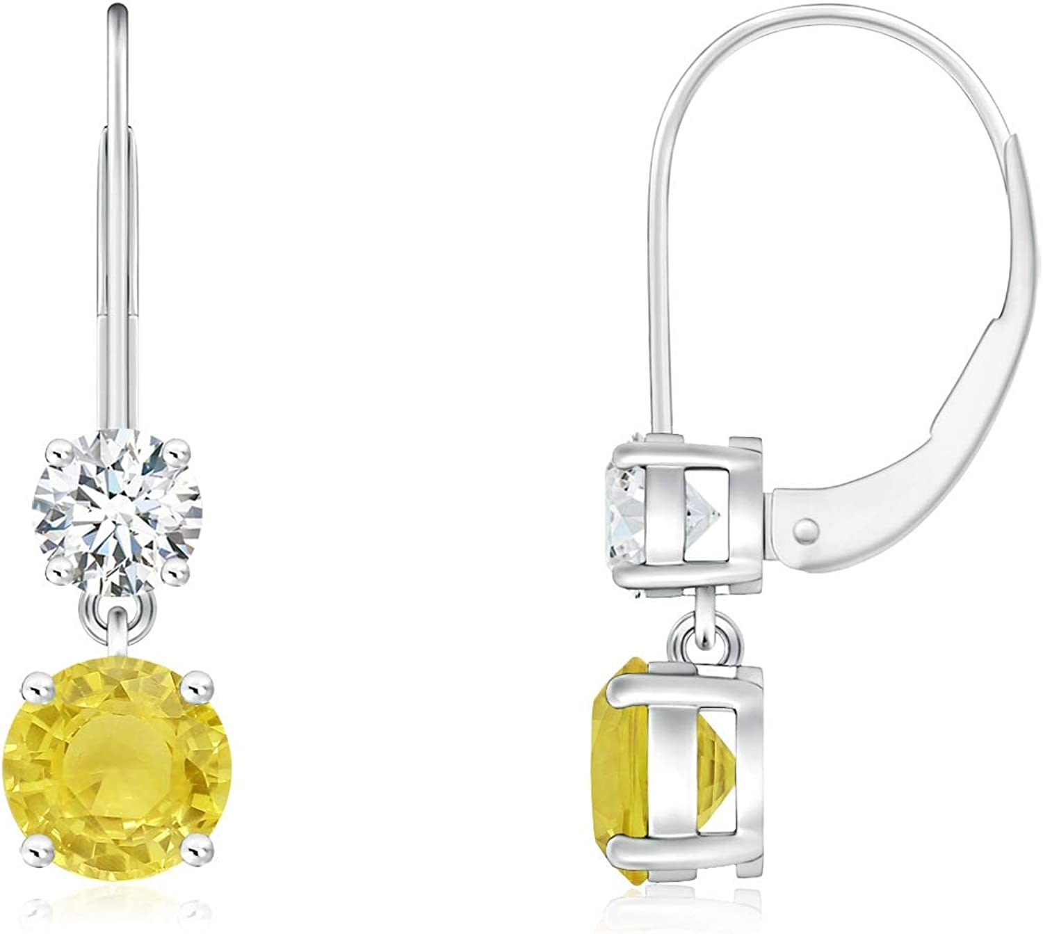 Round Yellow Max 88% OFF Sapphire Leverback Dangle Finally resale start 4m Earrings Diamond with