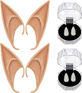 Gejoy 4 Pairs 15mm Vampire Teeth Fangs 12cm Latex Elf Ears Set for Halloween Masquerade Cosplay Accessory(Color 1)