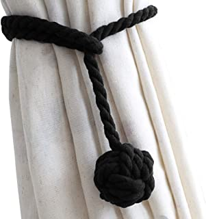 DEZENE 4 Pack Curtain Tiebacks,Handmade Natural Cotton Rope and Round Finial Drapery Tie Bakes,Decorative Holdbacks Holders for Window Sheer and Blackout Panels,Black