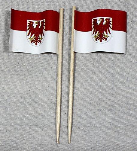 Party-Picker Flagge Brandenburg Papierfähnchen in Profiqualität 50 Stück 8 cm Offsetdruck Riesenauswahl aus eigener Herstellung