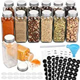 Aozita 14 Pcs Glass Spice Jars with Spice Labels - 8oz Empty Square Spice Bottles - Shaker Lids and Airtight Metal Caps - Chalk Marker and Silicone Collapsible Funnel Included