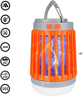 INQUIRY 3 in 1 Camping Lantern Bug Zapper Flashlight Portable IPX6 Waterproof Mosquito Killer LED Lamp with 2200mAh Rechargeable Battery, Retractable Hook, USB Cable