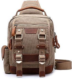 LIMING Men's Chest Bag Cross Body Shoulder Sling Backpack Travel Hiking Chest Bag Canvas Messenger Bag Suitable For Outdoo...