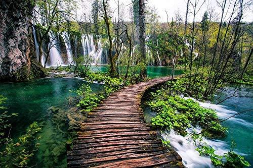 WXLSL Puzzles Plitvicer Seen Nationalpark Kroatien Wasserfall Bäume Holzbrücke 1000 Stück Adult Puzzle Casual Game