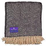 Highland Tweed Herringbone 100% Pure New Wool Throw ~ Black/Tan ~