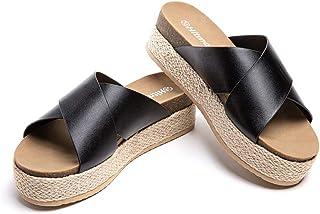 Sandalias Mujer Alpargatas Cuña Plataforma Chanclas Verano Playa Zapatillas de Cinturón Cruzado Punta Abierta Tacón 5.3 cm...