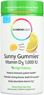 Rainbow Light - Sunny Gummies Vitamin D3 1000 IU, Support for Healthy Bones, Muscles, and Immunity in a Family-Friendly Ch...